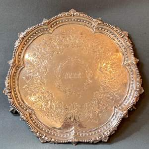 Victorian Chased Silver Plated Tray on Ball and Claw Feet
