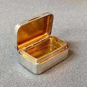 19th Century Silver Snuff Box with Gilt Interior