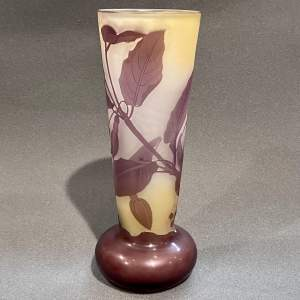 Tall Early 20th Century Galle Cameo Glass Vase
