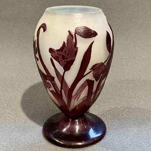 Short Early 20th Century Galle Cameo Glass Vase