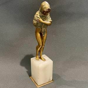 Dalonzo Gilt and Cold Painted Bronze Figure La Frileuse