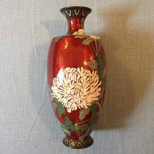 Japanese Cloisonne Vase With Floral Pattern and Red Ground