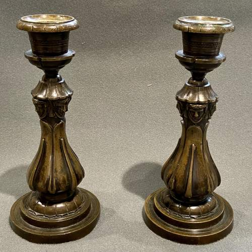 Pair of William IV Bronze Candlesticks image-1