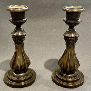 Pair of William IV Bronze Candlesticks
