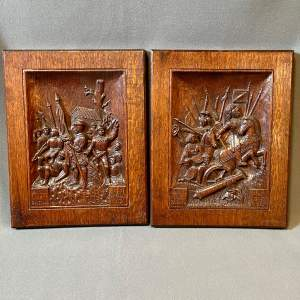Pair of Commemorative Italian Wooden Wall  Carvings