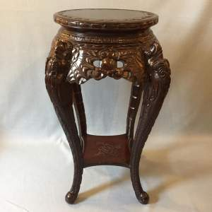 Chinese Ornately Carved Hardwood Jardiniere Stand