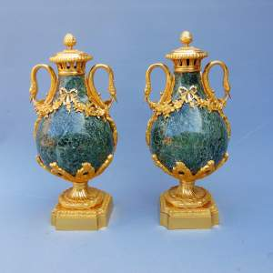 Fine Pair of French Campan Green Marble Cassolettes