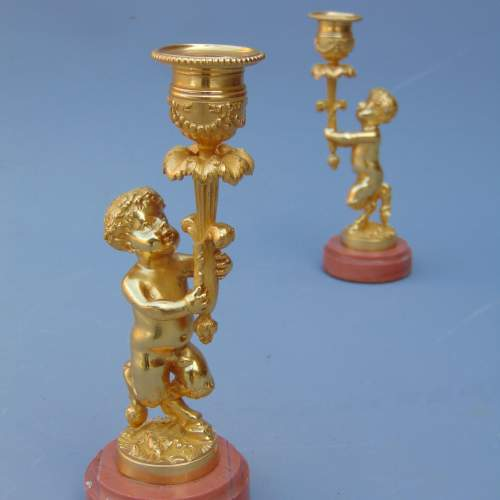 A Pair of Ormolu Cherub Candlesticks image-3