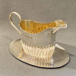 Unusual Edwardian Silver Cream Jug with Saucer