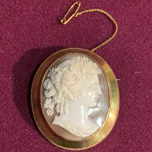Classical Style Gold Mounted Shell Cameo Brooch