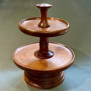 Two Tier Mahogany Revolving Cake Stand