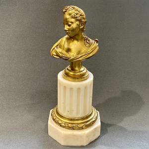 Gilt Bronze and Alabaster Bust