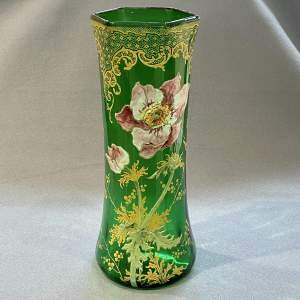 French Mont Joie St Denys Enamelled Glass Vase