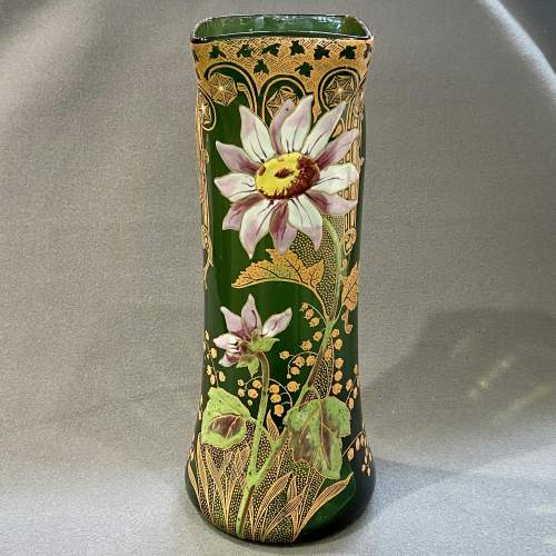 French Mont Joie St Denys Square shaped top, Enamelled Glass Vase image-1