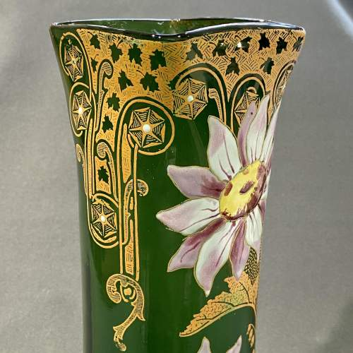 French Mont Joie St Denys Square shaped top, Enamelled Glass Vase image-2
