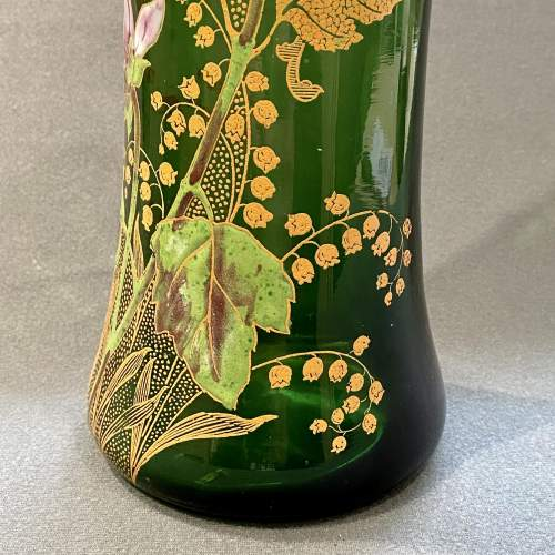 French Mont Joie St Denys Square shaped top, Enamelled Glass Vase image-3