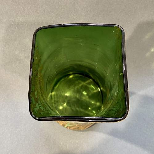 French Mont Joie St Denys Square shaped top, Enamelled Glass Vase image-6