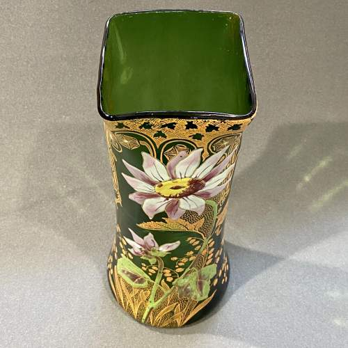 French Mont Joie St Denys Square shaped top, Enamelled Glass Vase image-5