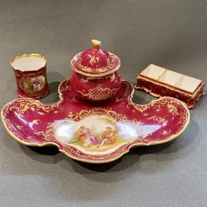 Dresden Hand Painted Porcelain Desk Set