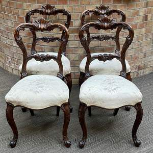 Set of Four Victorian Rosewood Dining Chairs
