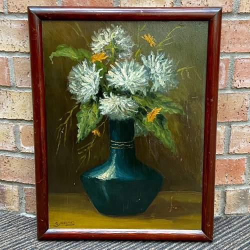 Still Life Flowers in Vase Oil Painting on Board image-1