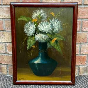 Still Life Flowers in Vase Oil Painting on Board