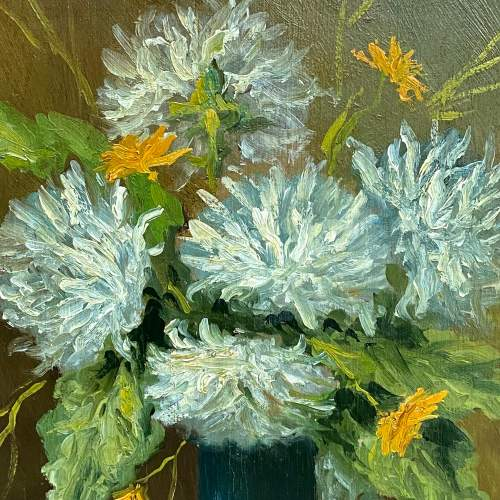 Still Life Flowers in Vase Oil Painting on Board image-2