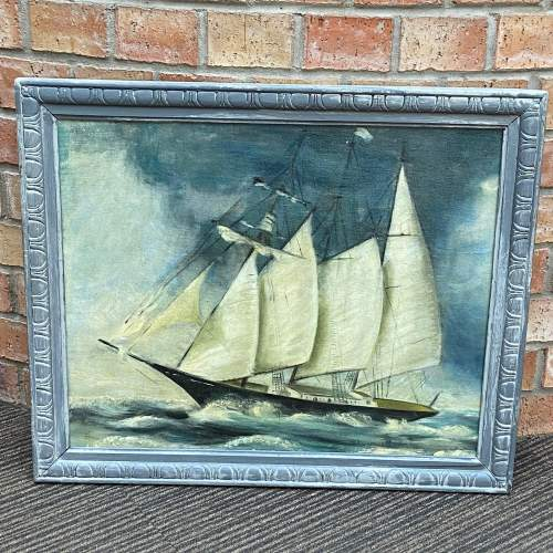 Oil on Canvas of Ship in Full Sail image-1