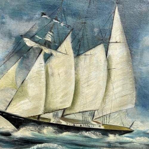 Oil on Canvas of Ship in Full Sail image-2