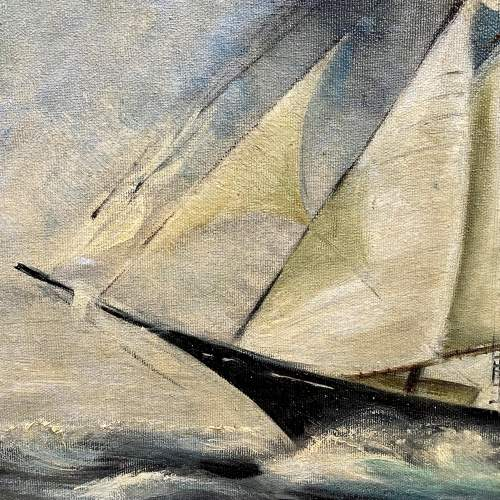 Oil on Canvas of Ship in Full Sail image-3