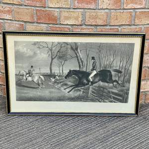 A Steel Engraving of The Hunt Scene Going Away