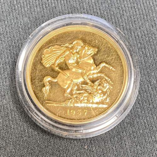 1937 Gold Proof £5 Coin image-1