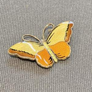 Norwegian Silver and Enamel Butterfly Brooch