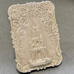 Stunning Victorian Nathaniel Mills Castle Top Card Case