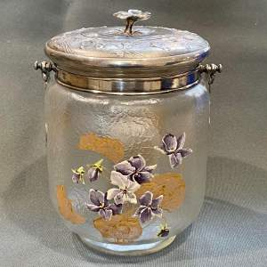 Christofl Gallia Art Nouveau Glass Biscuit Barrel