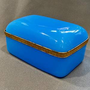Blue Opaline Glass Casket