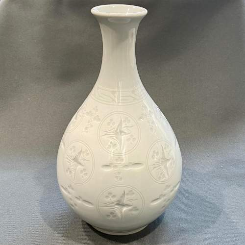 Quality Japanese Porcelain Celadon Vase image-1