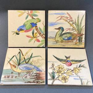 Set of Four Victorian Ornithological Painted Tiles