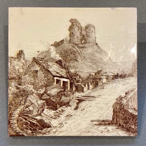 19th Century Minton L.T.Swetman Criccieth Castle Wales Tile image-1
