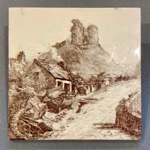 19th Century Minton L.T.Swetman Criccieth Castle Wales Tile