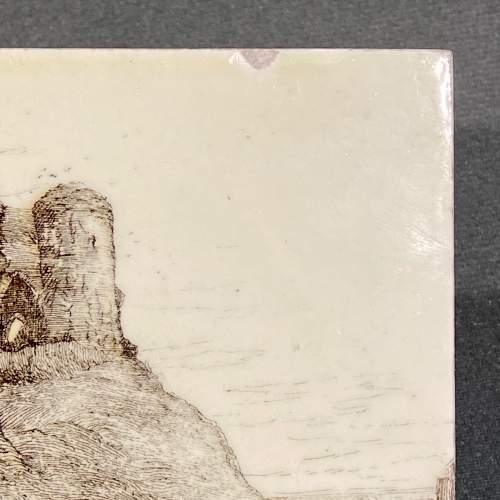 19th Century Minton L.T.Swetman Criccieth Castle Wales Tile image-3