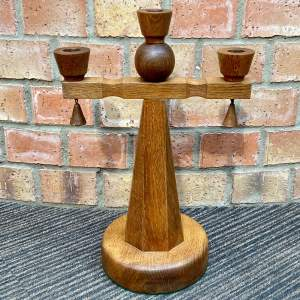 Unusual Arts and Crafts Oak Triple Candlestick