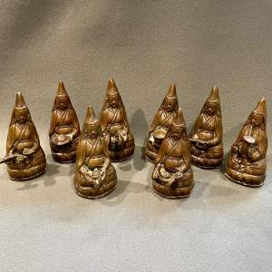 Set of Eight 20th Century Nepalese Bronze Figures