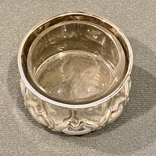 Liberty and Co Art Nouveau Solid Silver Salt with Glass Liner image-2
