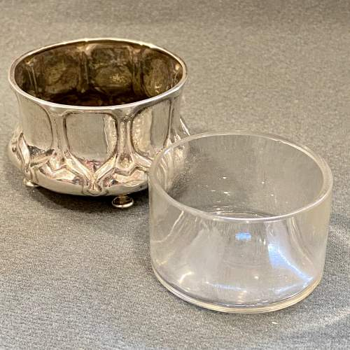 Liberty and Co Art Nouveau Solid Silver Salt with Glass Liner image-4