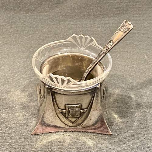 WMF Art Nouveau Pewter Salt with Glass Liner and Spoon image-1