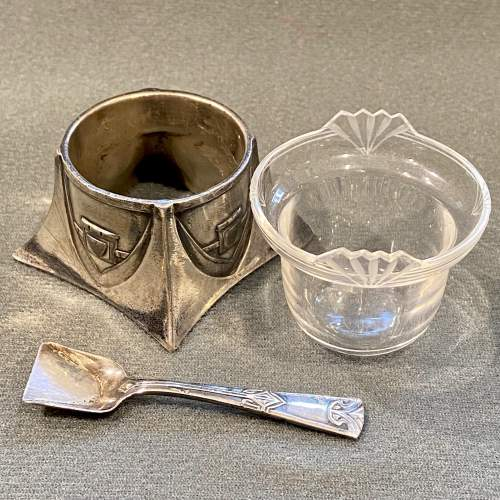 WMF Art Nouveau Pewter Salt with Glass Liner and Spoon image-2