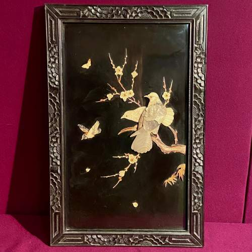 Large Oriental Bone and Abalone Birds Panel in its Original Frame image-1