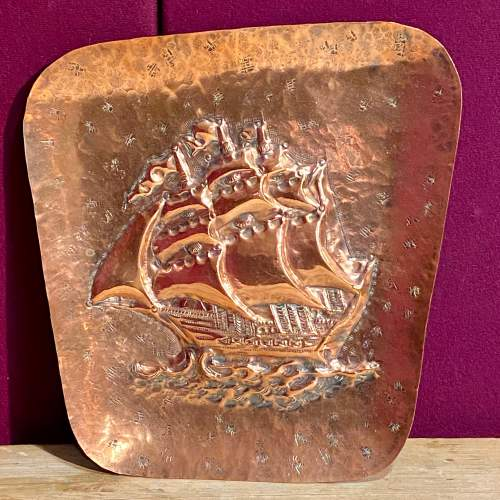 Large Arts and Crafts Copper Handmade Ship Wall Plate image-1