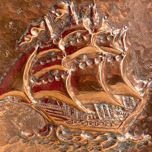 Large Arts and Crafts Copper Handmade Ship Wall Plate image-2